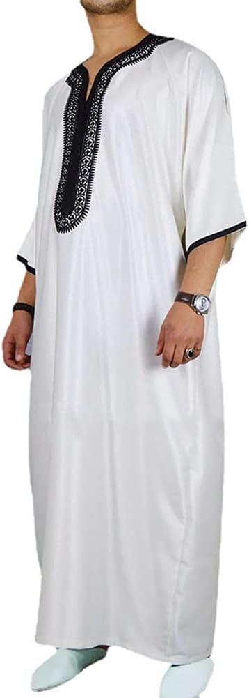 CHUANGFU Ethnic Style Men's Long Shirt Casual Youth White Muslim Robe,Men's Short Sleeve Home Robe Kaftan Long Gown Thobe