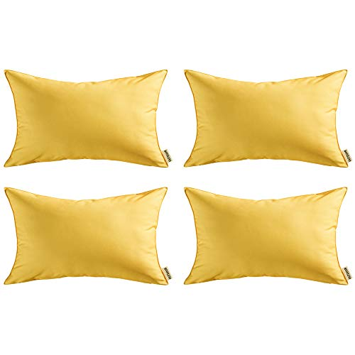 MIULEE 4 Piezas Aire Libre Fundas de Impermeable Cojines Almohada Caso de la Cubierta del Amortiguador Decorativo Duradero Decoración para Sofá Balcones Camping12x20inch 30x50cm Amarillo