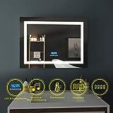 EMKE LED Badspiegel 80x60cm Beleuchtung Badezimmerspiegel Wandspiegel mit Bluetooth 4.1...