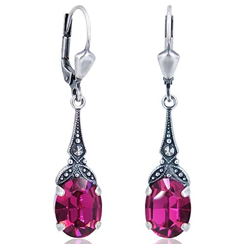 Jugendstil Ohrringe mit Kristallen von Swarovski® Pink Silber NOBEL SCHMUCK
