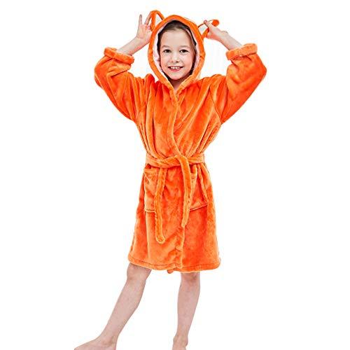 MICHLEY Kinder Bademäntel Soft Flanell Tier Kapuzen Nachtwäsche Jungen Mädchen Robe Orange 3-5 Jahre