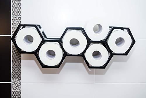 Toilettenpapierhalter Badregal Badezimmer Dekor Toilettenpapierregal Holzhalter für Toilettenpapier Waben (Schwarz)