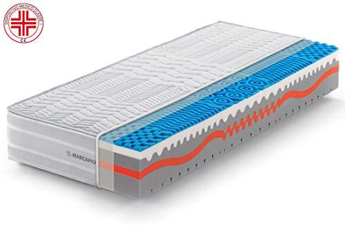 Marcapiuma - Materasso Singolo Memory 80x190 alto 25 cm - SUNSHINE - Rigidità H2 Medio 9 zone - Dispositivo Medico - Rivestimento Carbonio Silver Sfoderabile Antiacaro 100% Made in Italy