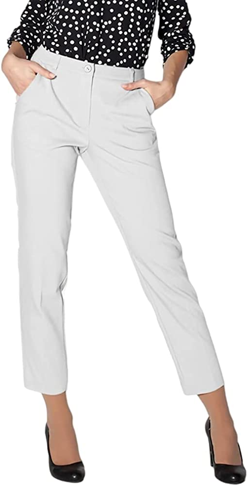 Genayge Women's Casual Work Slim Pencil Comfy High Waist Pants Solid Color Button Trousers with Pockets