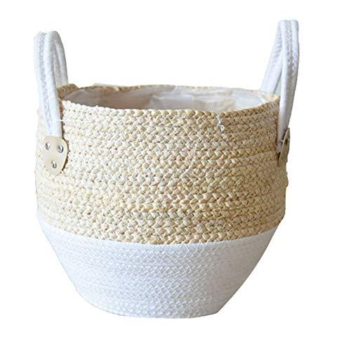 Pote de Flores de Paja Cestas de cestas de Picnic Planta de Picnic Pot Rattan Tote Cesta de Vientre Supermercado con asa para la decoración de Almacenamiento (Sheet Size : Small)