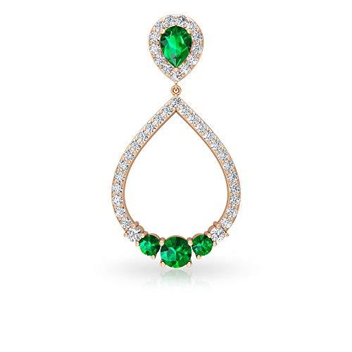 1.24 CT IDCL Certified Green Stone Moissanite Drop Dangle Earring, Open Teardrop Bridal Wedding Large Earring, Gemstone Anniversary Earring Gifts Idea, 18K Rose Gold, Single