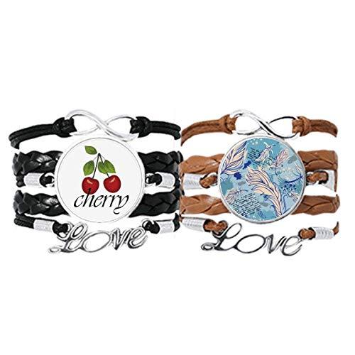 Bestchong Pulsera de piel con diseño de lunares, con cuerda de piel y cereza, juego doble