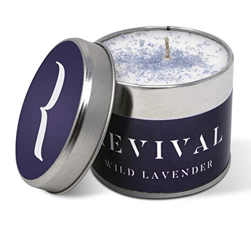 Revival Wilder Lavendel Luxus Kerze - Wunderschön aufgegossen mit süßen und warmen natürlichen, ätherischen Ölen - 45 Stunden Brennzeit