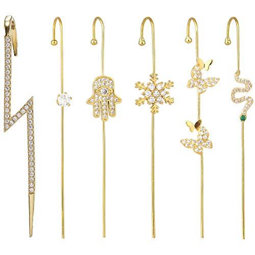 Ettzlo Pendientes de gancho para oreja, de aleación hipoalergénica con diamantes de imitación, para mujeres, niñas, cumpleaños, Navidad, día de San Valentín (6 unidades)