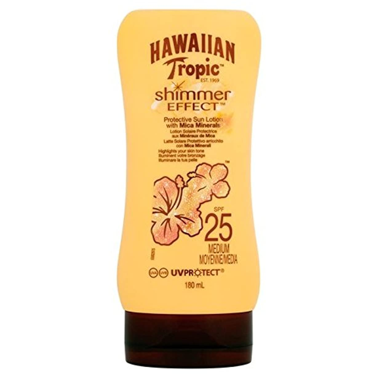 材料保安つぼみ南国ハワイシルクきらめき効果の日焼け止めクリーム 25 180ミリリットル x4 - Hawaiian Tropic Silk Shimmer Effect Sun Cream SPF 25 180ml (Pack of 4) [並行輸入品]