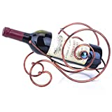 Estante para Vino de 1 Botella con Asa, Estante para Vino Estante de Almacenamiento de Vino Independiente Estante para Vino en Forma de Caracol Soporte de Exhibición de Proceso de Hierro Mesa