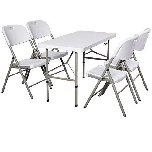 ZHANGYU Mesa Plegable, Silla De Silla De Acero para 6 Personas, Livianas Portátiles Y Alturas Ajustables para El Partido De La Barbacoa para Acampar Al Aire Libre,White 122×61cm4 Chair