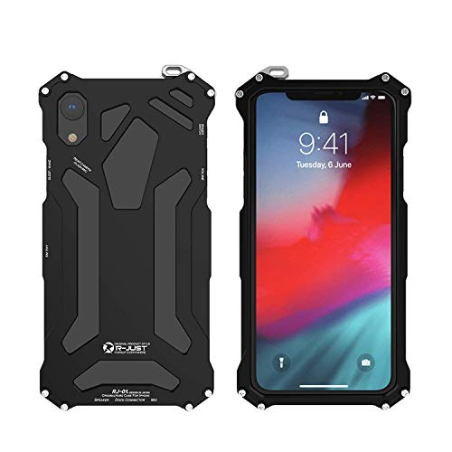 R-just iPhone Xs Max Metal Case,Outdoor Sports Tank Armor Bumper Aluminum Metal Cover Shockproof Drop Resistance Heavy Duty Rugged Tough Protective Case for iPhone Xs Max (Black, iPhone Xs Max 6.5