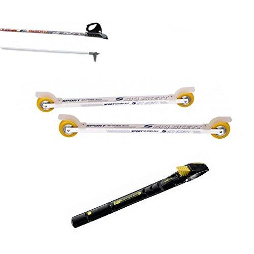 Ski Skett Série Ski Roue, Ski Roue Sport Skate ALU PV, Fixations Salomon Profil SK, bâtons pour Ski Roue Long. 165 cm.
