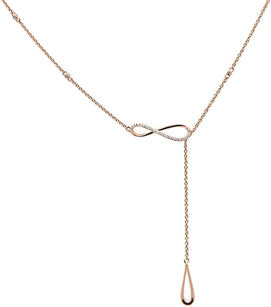 14K Gold, White Gold or Rose Gold 0.07 cttw Diamond Infinity Lariat Drop Pendant Necklace (14, 16, 18 Inches)