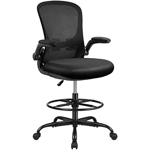 Devoko Drafting Chair Tall Office Chair with Flip-up Armrests Office Desk Chair Ergonomic Mesh Chair Lumbar Support with Adjustable Height (Black)