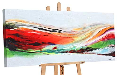 YS-Art   Dipinti a Mano Colori acrilici Arcobaleno   Quadro Dipinto a Mano   115x50cm   Pittura   Dipinti Modern   Quadri Dipinti a Mano   Multicolore