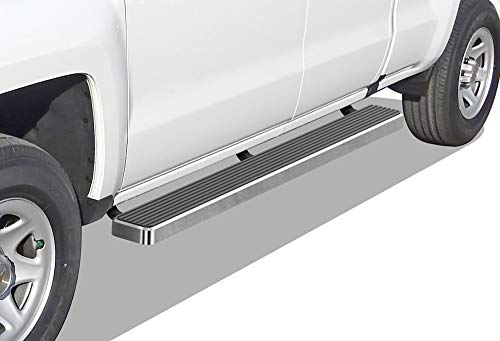APS iBoard (Silver 6 inches) Running Boards Nerf Bars Side Steps Step Rails Compatible with 2007-2018 Chevy Silverado Sierra Double Extended Cab & 2019 2500 3500 HD (Exclude 07 Classic)