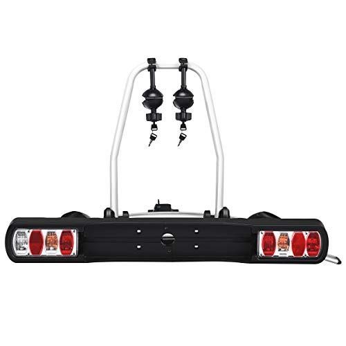 COSTWAY Fahrradheckträger kippbar Heckträger Kupplungsträger 30kg Tragkraft/für 2 Fahrräder/für Reifenbreite: 20-90 mm/Sicherheitsrücklicht