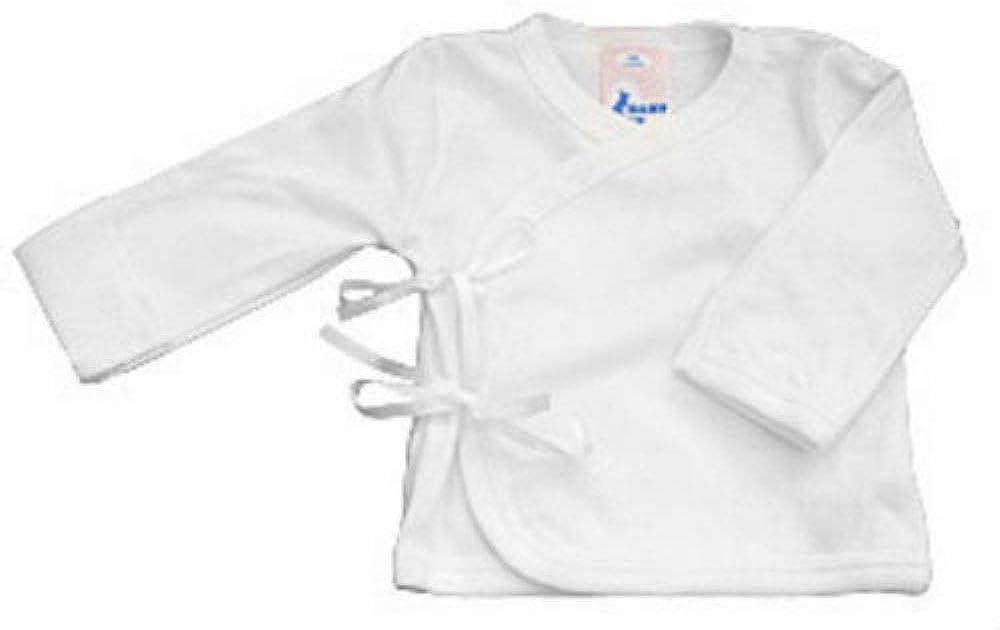 Baby Jay 100% Cotton White Long Sleeve Wrap Shirt Boy Girl 0-3-6-12 Month