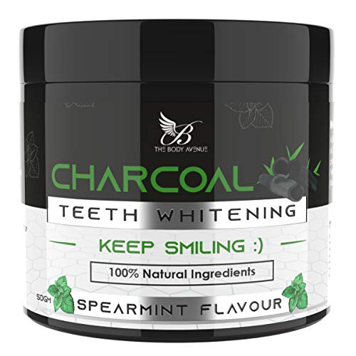 The Body Avenue Activated Charcoal Teeth Whitening Powder for Natural Teeth Whitening, Freshen Breath, Remove Stains, Fight Cavities with Coconut Charcoal Powder, Clove, Orange & Peppermint Oil - 50g