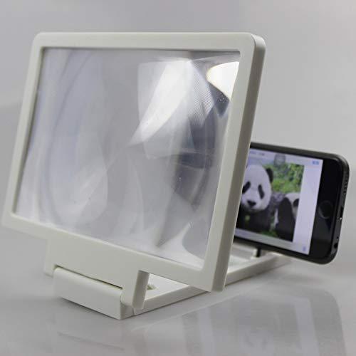 KONGZIR Stereoscopic Verstärkungs-Universal-Handyhalter 3D Screen Amplifier Vergrößerungsglas HD-Standplatz for Anti-Strahlung Video-Halter (Color : White)