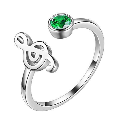 Aurora Tears DR0083 - Anello regolabile in argento Sterling 925 con chiave di violino aperta, regalo per donne e ragazze e Placcato oro, colore: verde, cod. DR0083G-EU