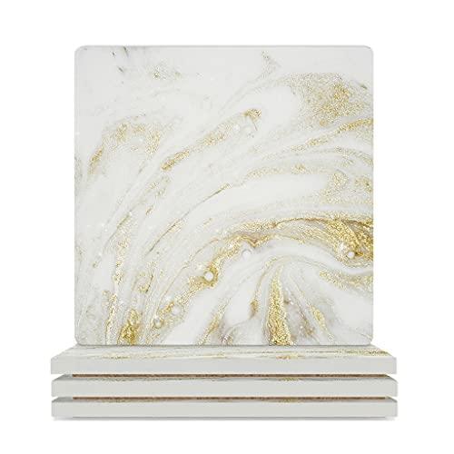 Swirl Art - Juego de posavasos de mármol con resistencia al calor para bebidas cuadradas, para bebidas de café, vajilla para barra de oficina, 4 piezas, color blanco