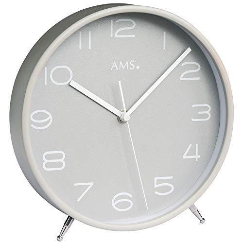 AMS - Funkuhr - Tischuhr - Holzrahmen grau lackiert - Mineralglas - Zifferblatt grau - Sekundenzeiger