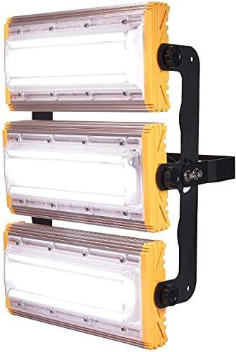 HTDHS Illight LED, Luces de Seguridad con Soporte, luz de inundación Impermeable IP65, Luces de Estadio, Estadio de la cancha de Baloncesto Estadio Garaje de Garaje, Blanco frío-150W