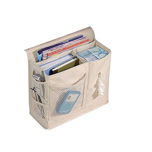 Panniuzhe – Bett-Ablagetasche mit 6 Taschen zum Aufhängen, gut geeignet für Armbanduhr, Handy, Brille, Zeitschrift beige