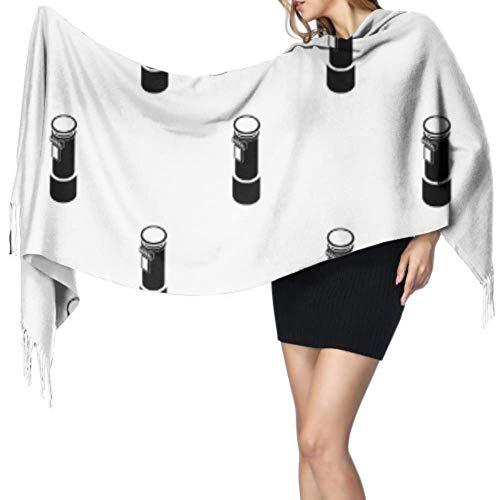 Bufanda del abrigo del mantón de las señoras de la flor del buzón de correos del arte creativo retro con la franja Abrigo del mantón grande 77x27 pulgadas / 196x68cm Pashmina suave grande extra cali