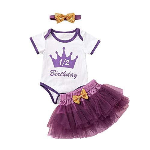 DaMohony Conjunto de falda tutú de malla para bebé, traje de niña con lazo, 3 piezas/juego