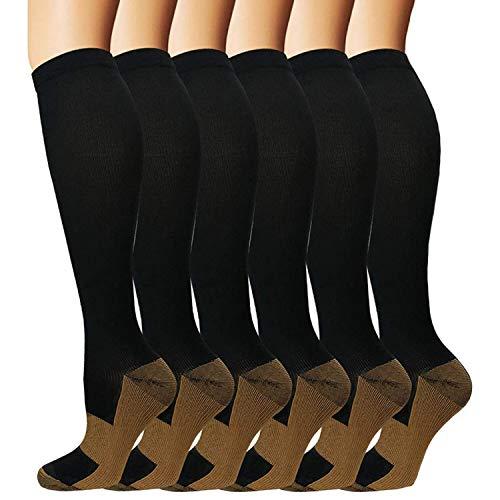 Matchwill 6 Pares Rodilla Alta Calcetines/Medias de Compresión para Hombres y Mujeres -Ejercicio/Correr/Enfermeras/Médico/Embarazo/Maternidad/Viajes/Vuelo/Aumenta la Resistencia/Reduce la Fatiga