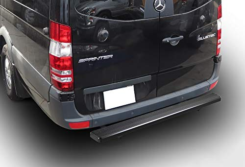 APS iBoard Rear Step Bar (Nerf Bars Side Steps Step Bars) Compatible with 2007-2009 Dodge Sprinter Full Size Van & 10-20 Mercedes-Benz Sprinter (Black Powder Coated 5 inches)