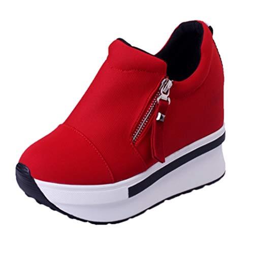 Mujeres cuñas de tacón Alto Zapatos Casuales al Aire Libre Cremallera Altura Aumentada Zapatillas de Deporte Transpirables Primavera Caminar Zapatillas de Lona