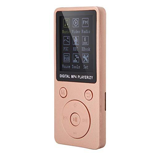 Goshyda Reproductor de música MP4, Soporte de Pantalla portátil Tarjeta de 32GB TF con Auriculares Tiempo de Espera prolongado(Rosa de Oro)