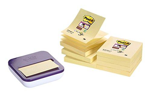 Post-it Super Sticky - Pack de 8 blocs Z-Notas, color Canary Yellow y dispensador, color m orado