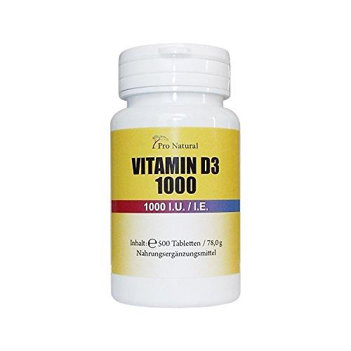 Pro Natural Vitamin D3 1.000 I.E. - 500 Vegane Tabletten Sonnenschein Vitamin D-3, Für Immunsystem, Knochen, Gesundheit- Beste Qualität