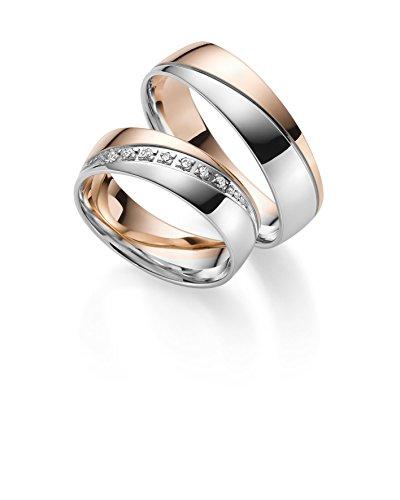 Anillos de boda Gold 333en bicolor; incluye Grabado + piedra–Joyería Rubin.