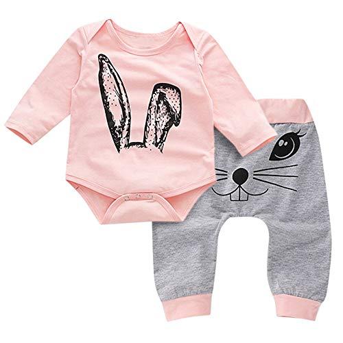 Jimmackey Neonata Fumetto Coniglio Stampa Completini, Pagliaccetto Maniche Lunghe Orecchio Tutine Body + Pantaloni Bebè Abiti