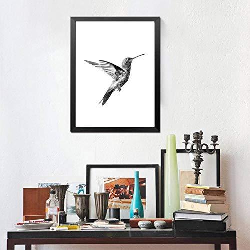 HYLBH muurschildering Kolibri dieren canvas schilderij minimalistisch zwart en wit poster Hd Print muurkunst afbeeldingen voor woonkamer decoratie