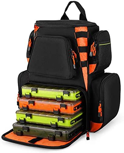 Magreel Mochila para aparejos de pesca, multifunción, resistente al agua, bolsa de aparejos con 4 bandejas para pesca, camping, senderismo y ciclismo
