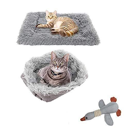 TOPSOSO Katzenbett Matten Hundebett selbstwärmend 2-in-1 Haustierbetten für mittelgroße kleine Hunde Plüsch flauschig Hundebett Kunstfell Katzenkissen Bett mit extra Bonus Haustier Geschenk