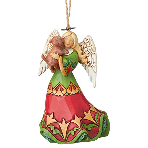 Enesco Jim Shore Heartwood Creek Angel Holding Puppy Hanging Ornament, 4.25 Inch, Multicolor