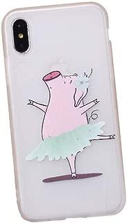 BONTOUJOUR iPhone Xs Max Case Super Cute Happy Piggy Pattern Serie Case Soft TPU Mate Surface Funny Pig Clear Transparent Back Cover Shock Absorption - (Ballet Piggy, iPhone Xs Max)