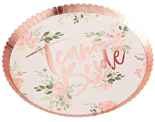 Party-Teller Team Bride Ditsy Flower Papp-Teller Einweg-Teller Einweg-Geschirr JGA in rosa & rosé-gold / Tisch-Deko Junggesellinnenabschied / Junggesellen-Abschied / JGA-Party Accessoire-s (8 Teller)