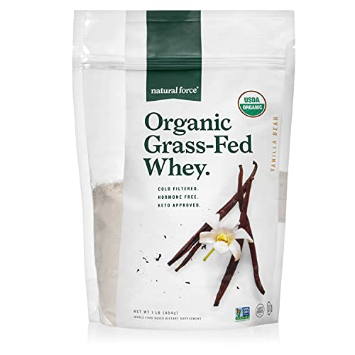 Natural Force Grass Fed Organic Whey Protein Powder – Non GMO Verified, Humane Certified & Lab Tested for Toxins – Real Vanilla Flavor – Keto Friendly, Low Carb, and Kosher - 16 Ounce A2 Protein