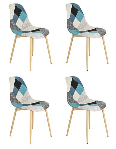 Sedia da pranzo in stile nordico patchwork con gambe in metallo grano legno per cucina, soggiorno, ufficio, salotto, ingresso, reception, sala d'attesa, set di 4 pezzi, colore: blu