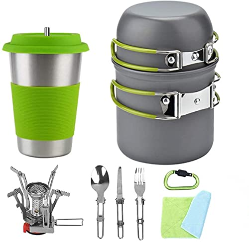 Bisgear 13pcs Camping Cookware Stove Stainless Steel Cup with Straw Mess Kit - Backpacking Cooking Gear Hiking Pot Pans Outdoors Cookset Bug Out Bag Carabiner Flatware Dishcloth